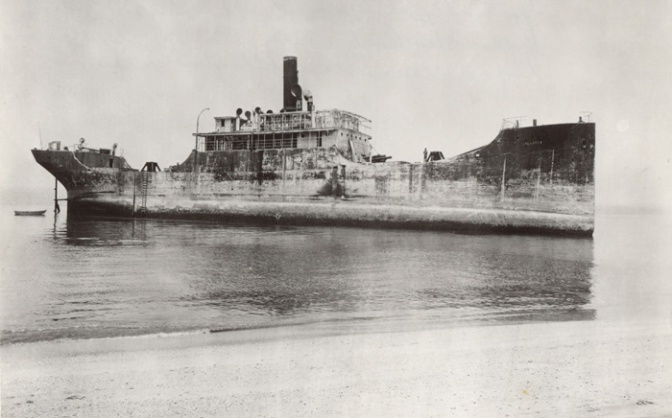 Photograph of SS Atlantus from 1926, after it had run aground