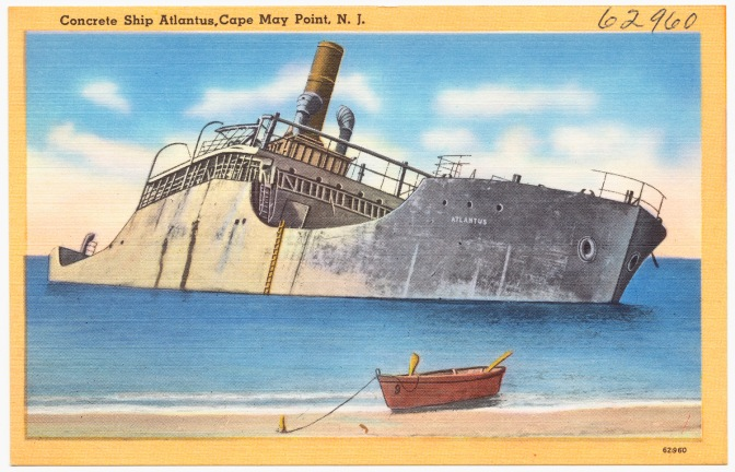 Postcard of SS Atlantus, depicting ship after it had run aground.