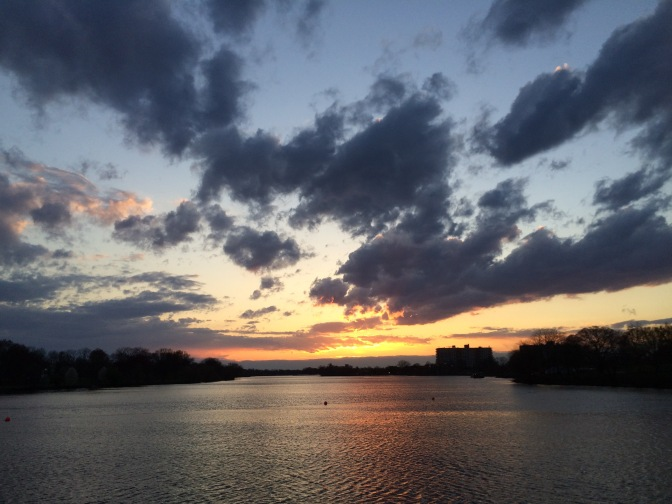 Photograph of river at sunset.