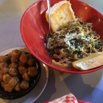 Fettuccine with crawfish tails and a side of fried okra for my girlfriend. YUM!