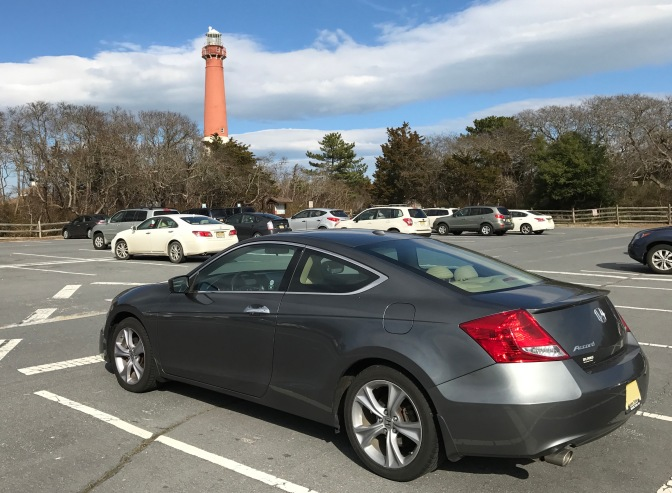 Barnegat Lighthouse. 2012 Honda Accord in the foreground.
