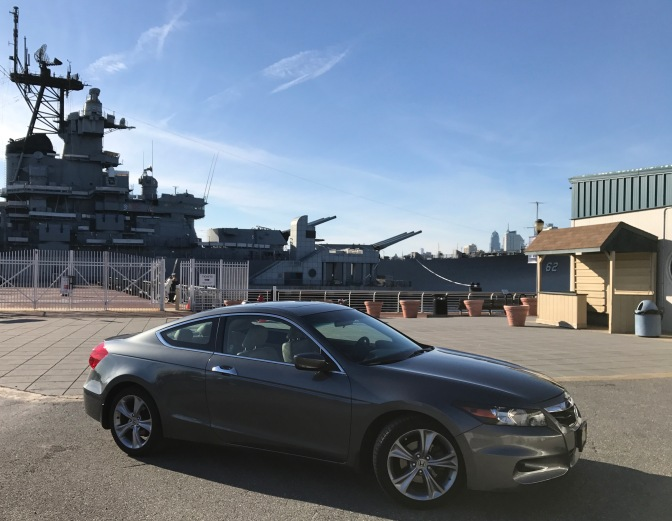 2012 Honda Accord in front of the USS New Jersey.