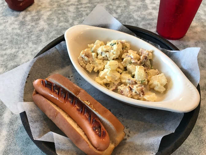 Hot dog and potato salad.