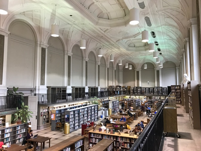 Reading room at the Free Library.
