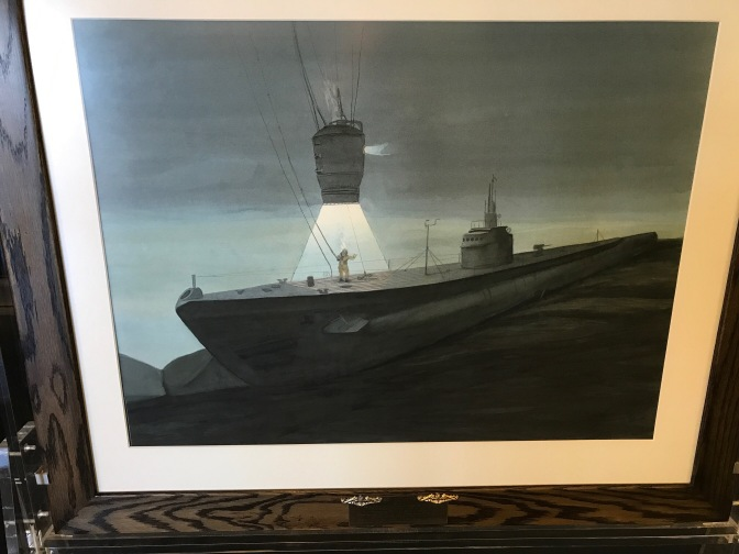 Painting of the rescue of the Squalas crew by Rescue Chamber and diver.