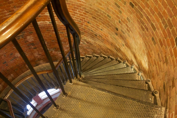 Downward view of staircase.
