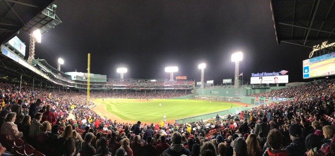 Fenway Park at night.