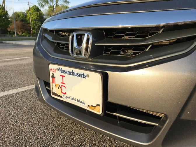 Front of Honda Accord with Massachusetts Cape Cod & Island specialty license plate.