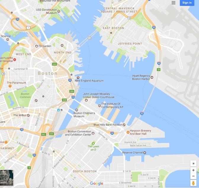 Google Map of Boston Harbor in 2017.