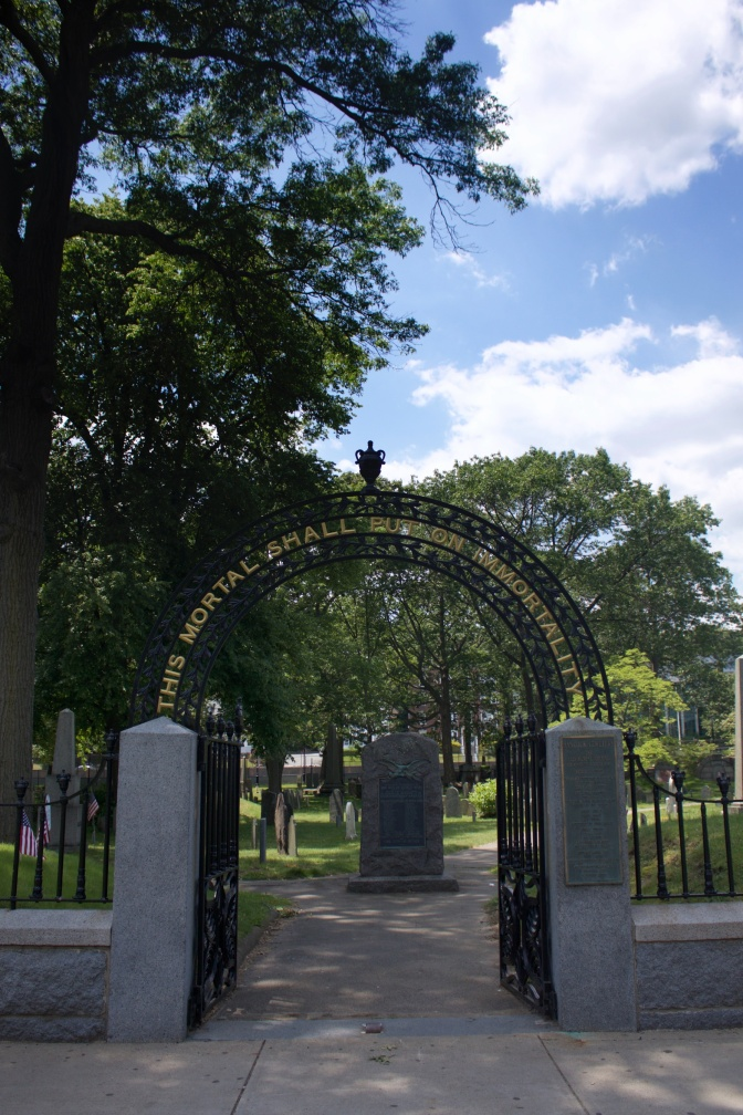 Entrance gates to Hancock Cemetery in Quincy, MA.