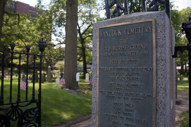 Sign outside Hancock Cemetery describing origins of cemetery.