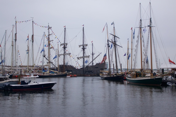 Several ships from Sail Boston in port.