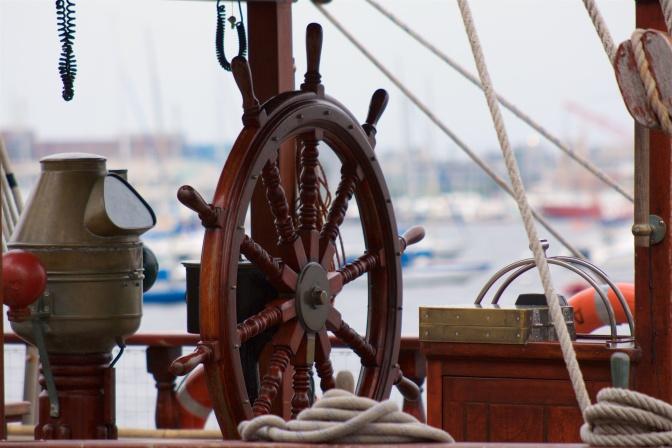 Ship's wheel on the Atyla.