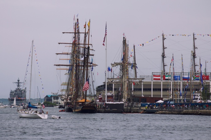 Vessels docked for Sail Boston.