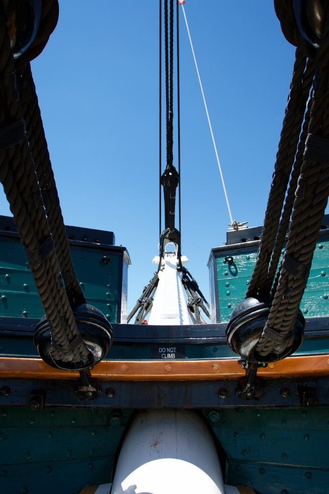 Foreward view of ship, toward bowsprit.