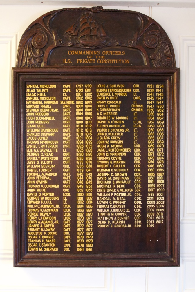 Plaque with names of all commanders of USS Constitution.