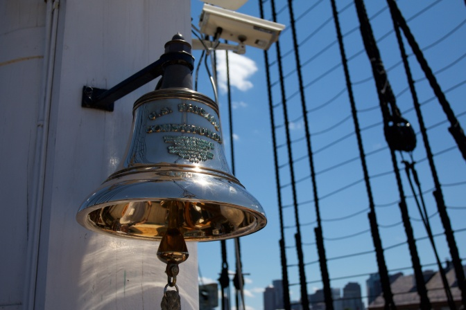 Ship's bell, attached to one of the masts.