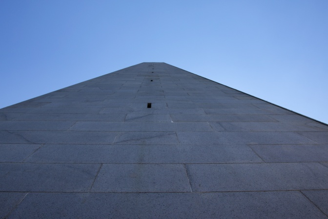 View toward the top of the monument, looking straight up.