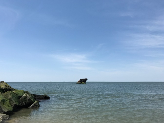 View of the concrete ship SS Atlantus from Sunset Beach.