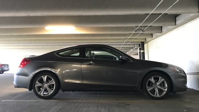 2012 Honda Accord coupe in a parking garage.