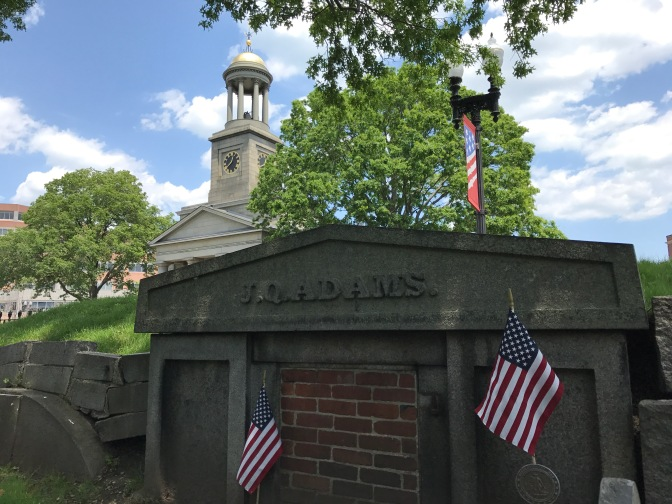 Tomb of John Quincy Adams, with United First Parish Church steeple in distance.