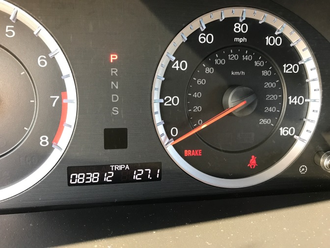 Odometer of Honda Accord indicating 83,812 miles.