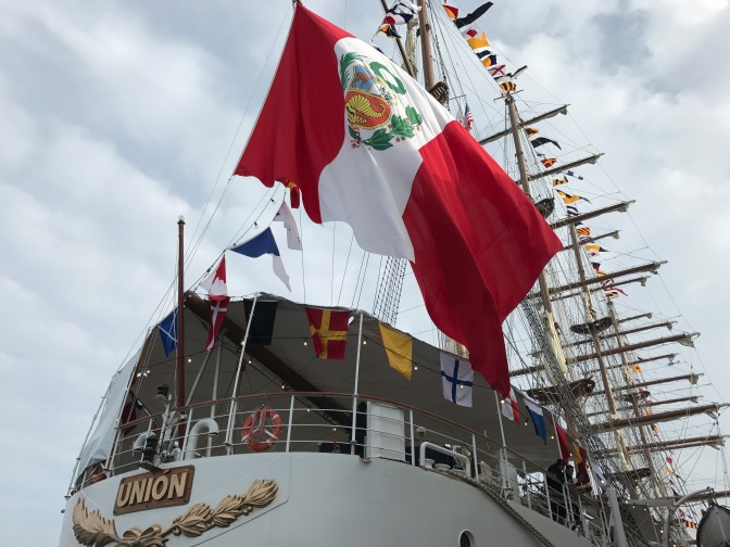 Peruvian flag and aft of BAP Union.