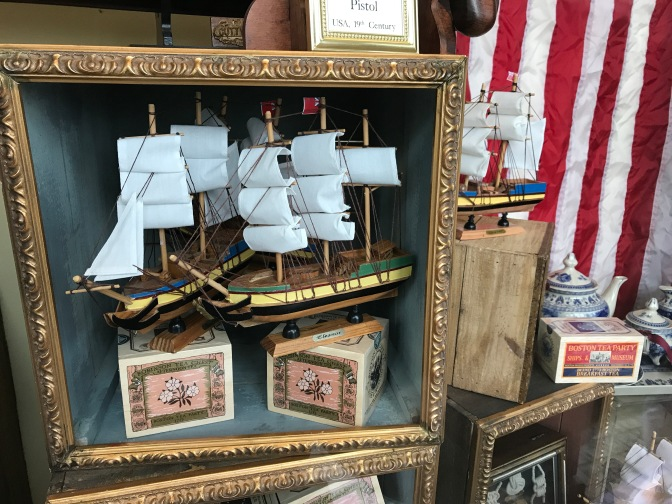 Display window of Boston Tea Party Museum gift shop.