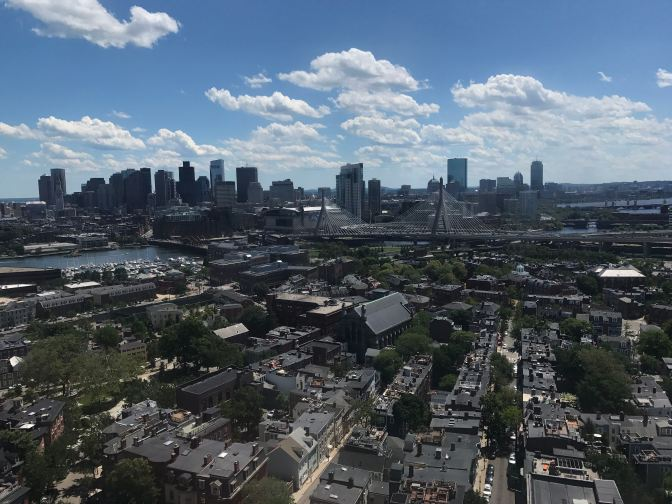 View of Boston skyline from the top of Bunker Hill Monument.
