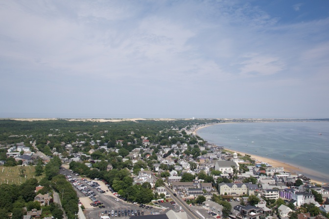 View from the top of the monument, looking west at Provincetown and the coastline.