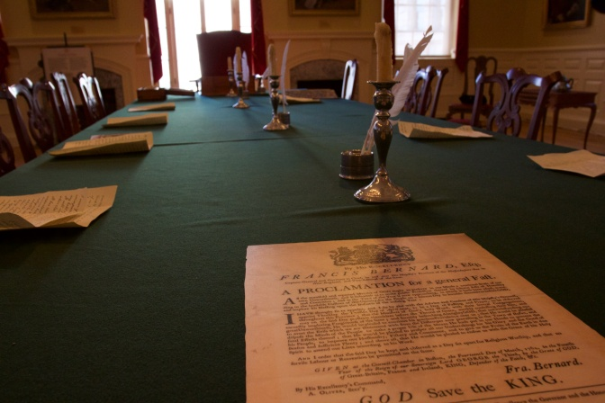 Table in the Royal Governor's Council Chambers in the Old State House.
