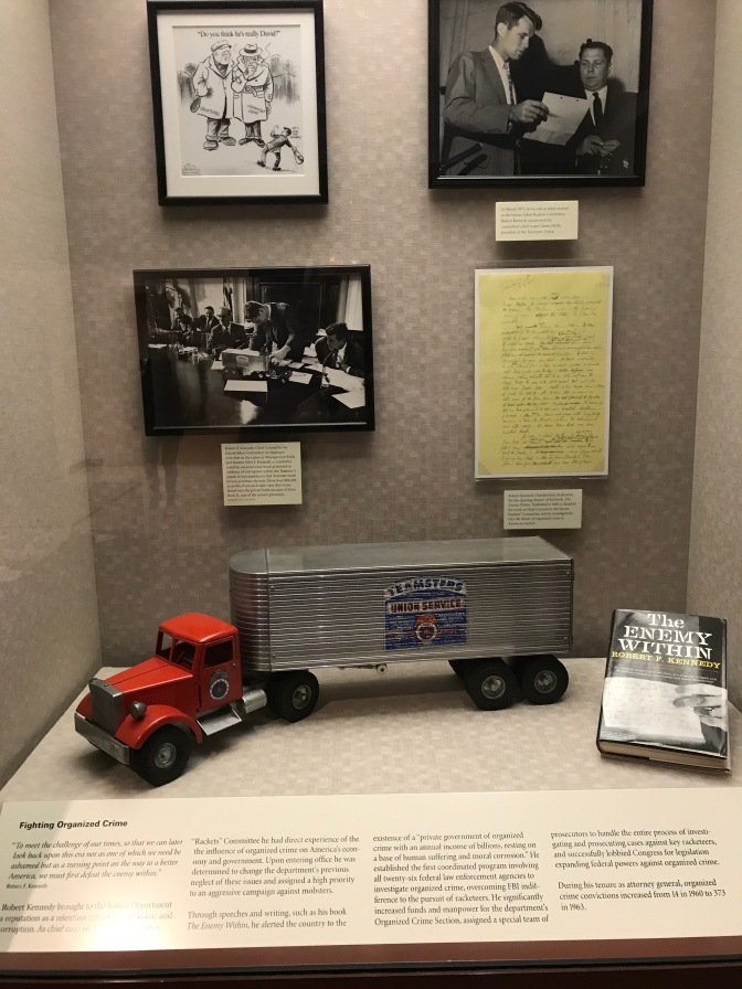 Display on Robert Kennedy's involvement with prosecution against organized crime.