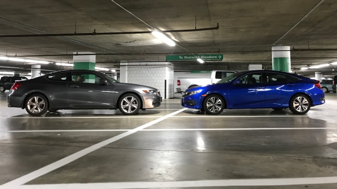 2012 Honda Accord coupe and 2015 Honda Civic EX-T in an underground parking garage.