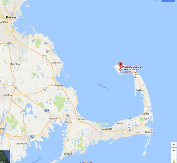 Map of Cape Cod, with a pin indicating the location of Pilgrim Monument.