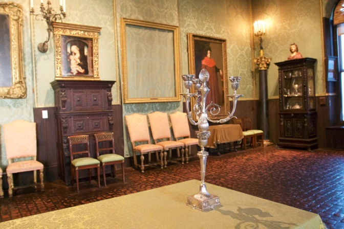 Candelabra on table in the Dutch room.