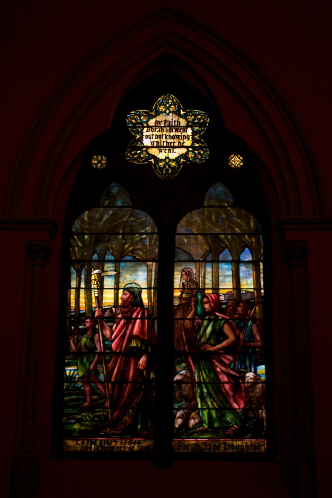 Stained glass window in Church of the Covenant.