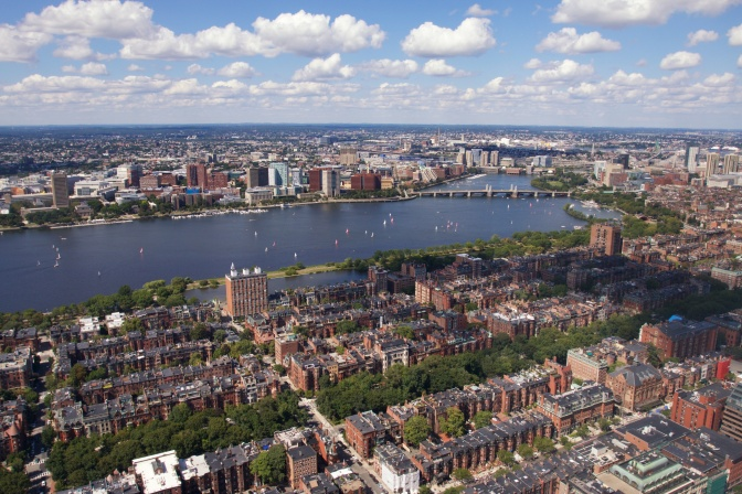 Northeast view. The Charles River is in the center of the image.