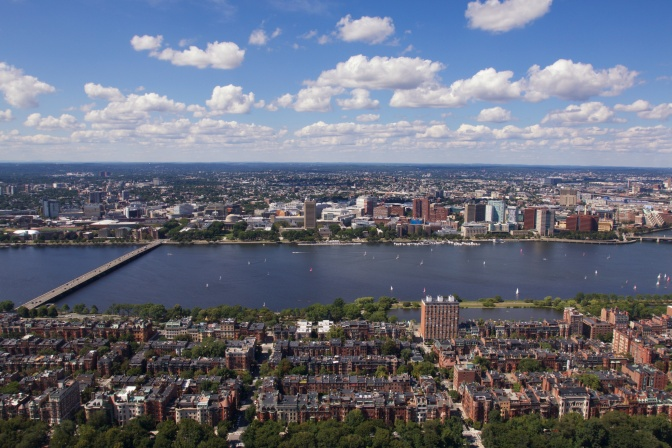 Northern view. The Charles River is in the middle of the image.