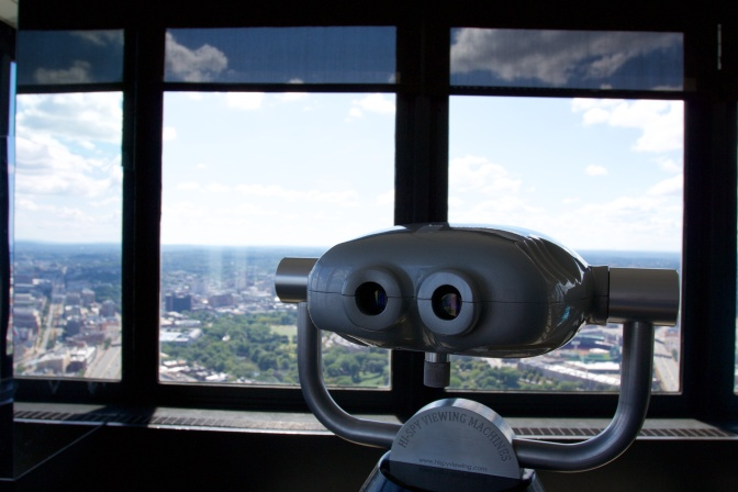 Binoculars mounted in the observatory.