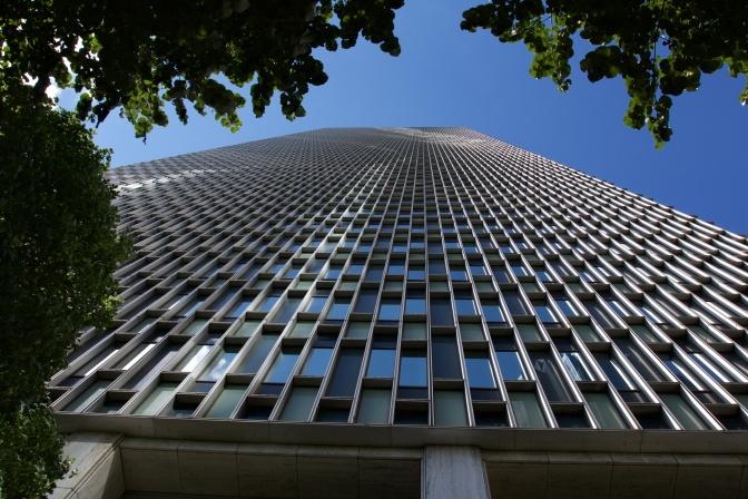 View looking upward at the Prudential Tower, from the base.