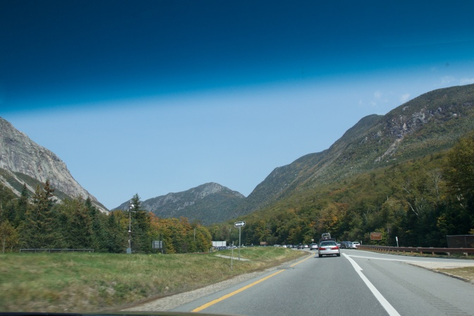 Franconia Notch. View of the highway approaching the notch.