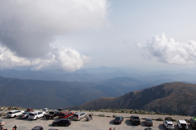 View of parking lot at the top of the mountain.