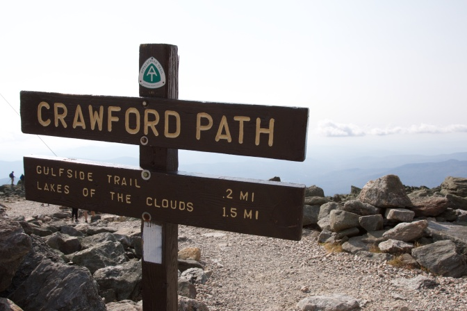 Trailhead sign for Crawford Path.