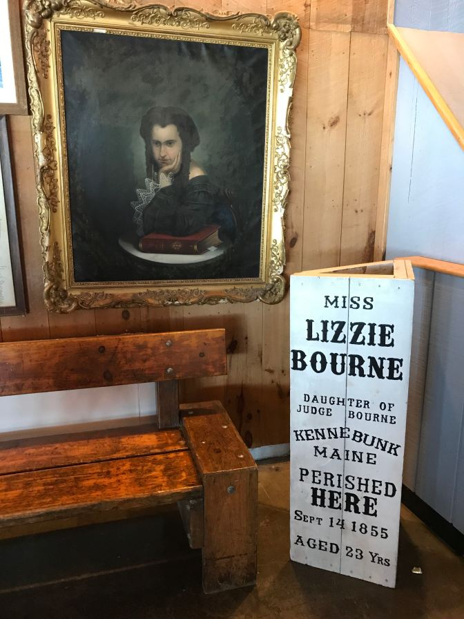 Display, including portrait, about Lizzie Bourne, who died on Mt. Washington.