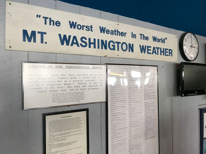 Wall display on the weather at Mt. Washington.