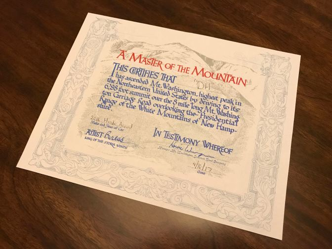 Certificate of achievement for having climbed Mt. Washington.