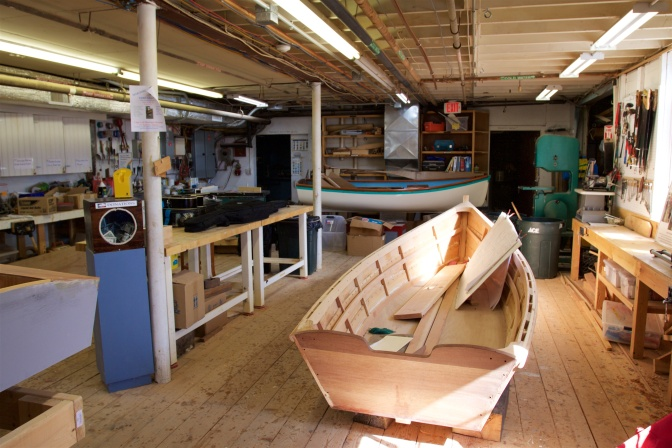 Boat building workshop.