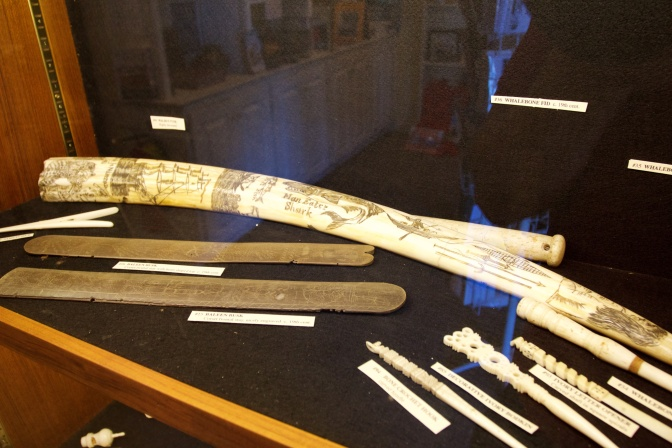 Exhibit on engravings on whale bones.