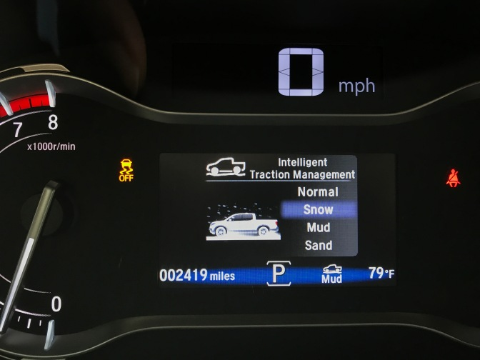 Intelligent Traction Management display on Ridgeline dashboard.