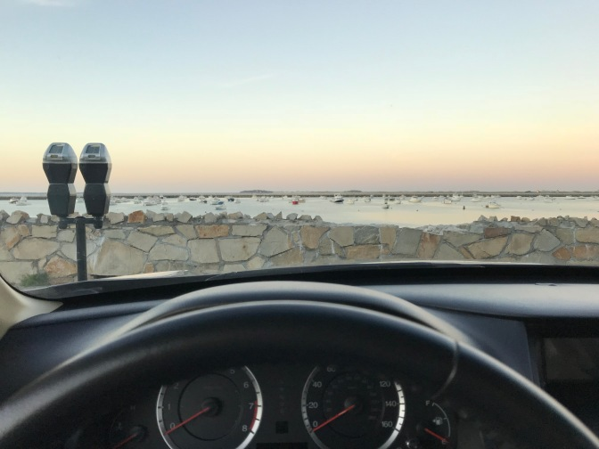 View of Plymouth Harbor from behind windshield of 2012 Accord.